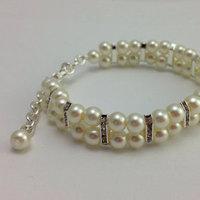 Jewelry, white, ivory, silver, Bracelets, Pearls, Bracelet, Simple, Pretty, Pearl, Bling, Classy, Sparkly, Pearlbracelet, Bridalbracelet, Weddingbracelet
