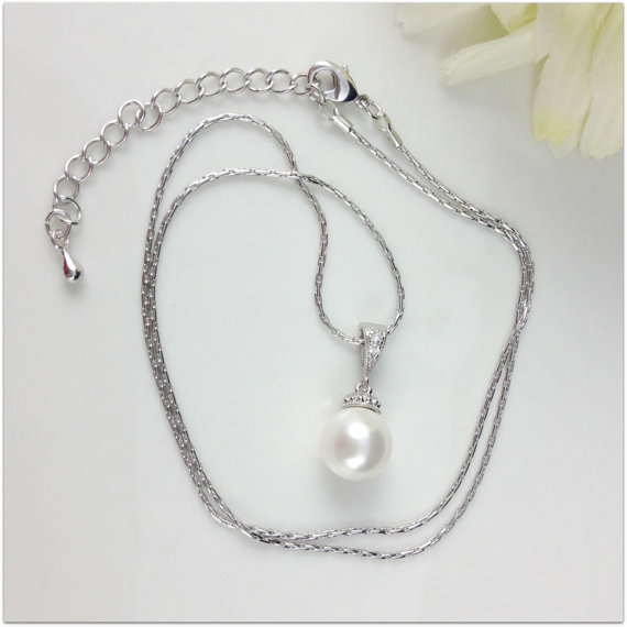 Jewelry, white, ivory, silver, Simple, Pearl, Bling, Classy, Sparkly, Droppedpearl, Singlepearl, Pearlnecklace, Bridalnecklace, Prettychain, Singlepearlnecklace, Ivorypearl, Creampearl, Weddingnecklace, Bridalswap