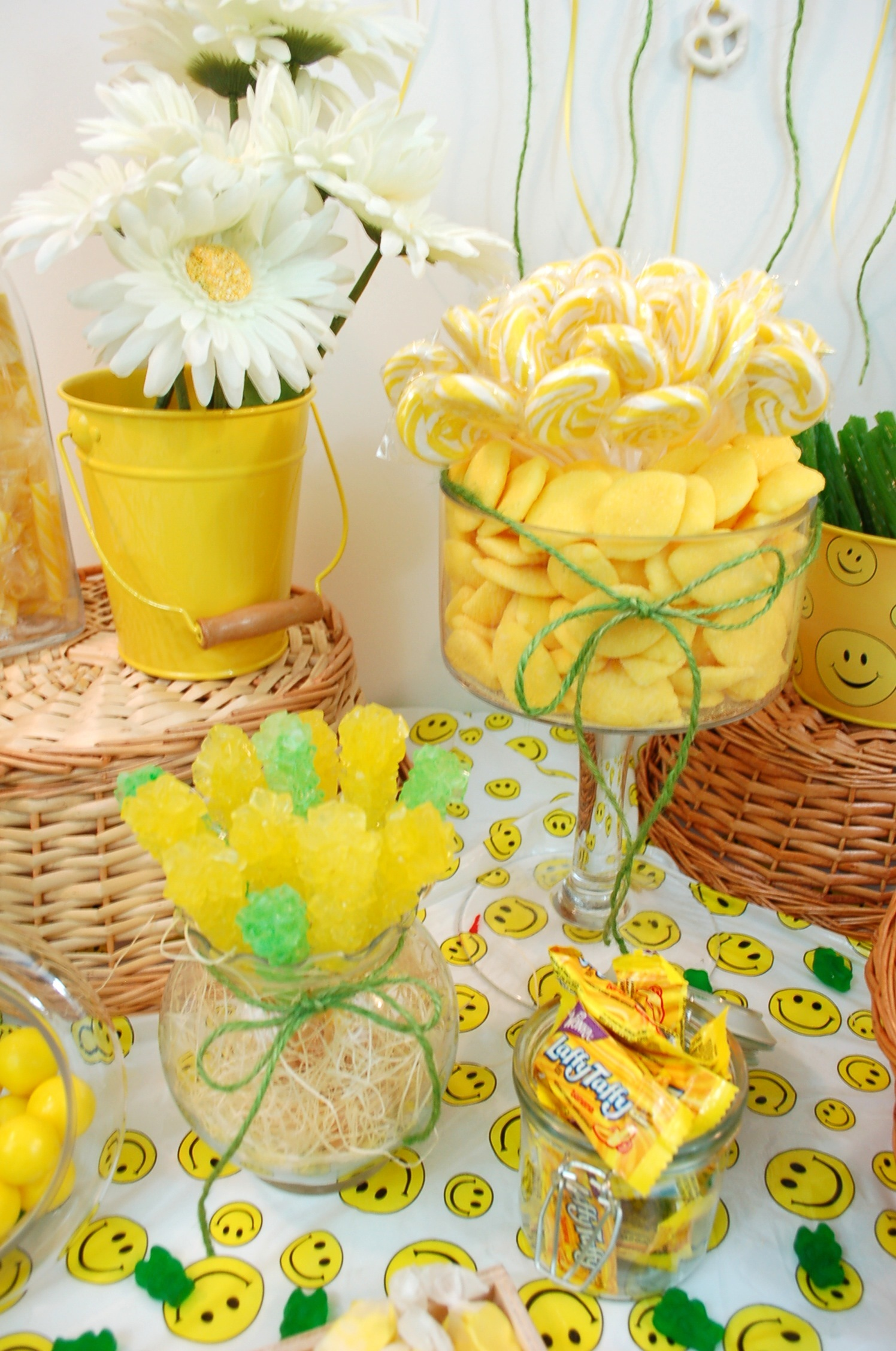 DIY, Reception, Flowers & Decor, Favors & Gifts, Cakes, white, yellow, green, cake, Favors, Food, Wedding, Party, Table, Candy, Buffet, Display, Inspiration board, Bar, Snacks