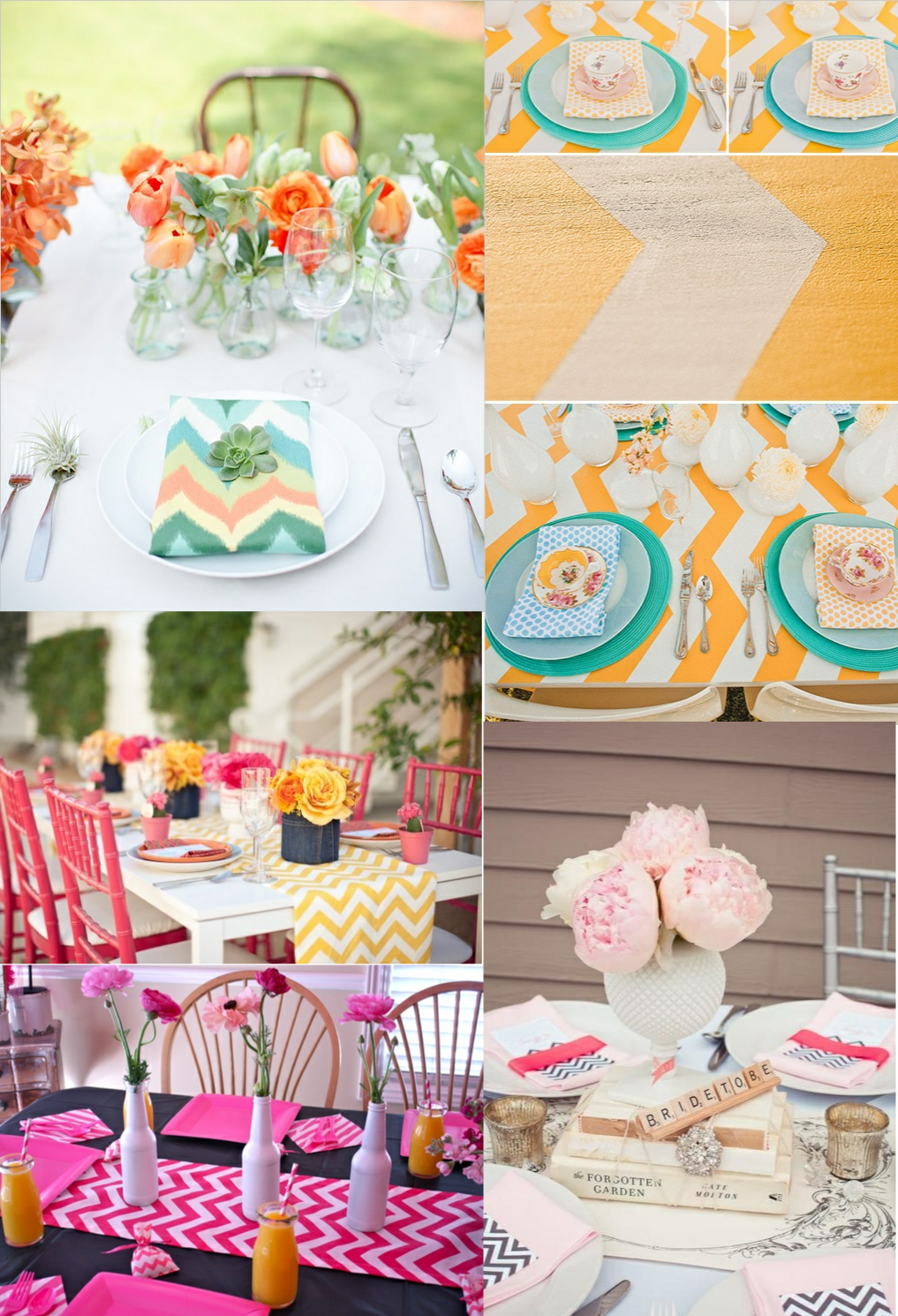 Reception, Flowers & Decor, yellow, orange, pink, blue, Table, Chevron