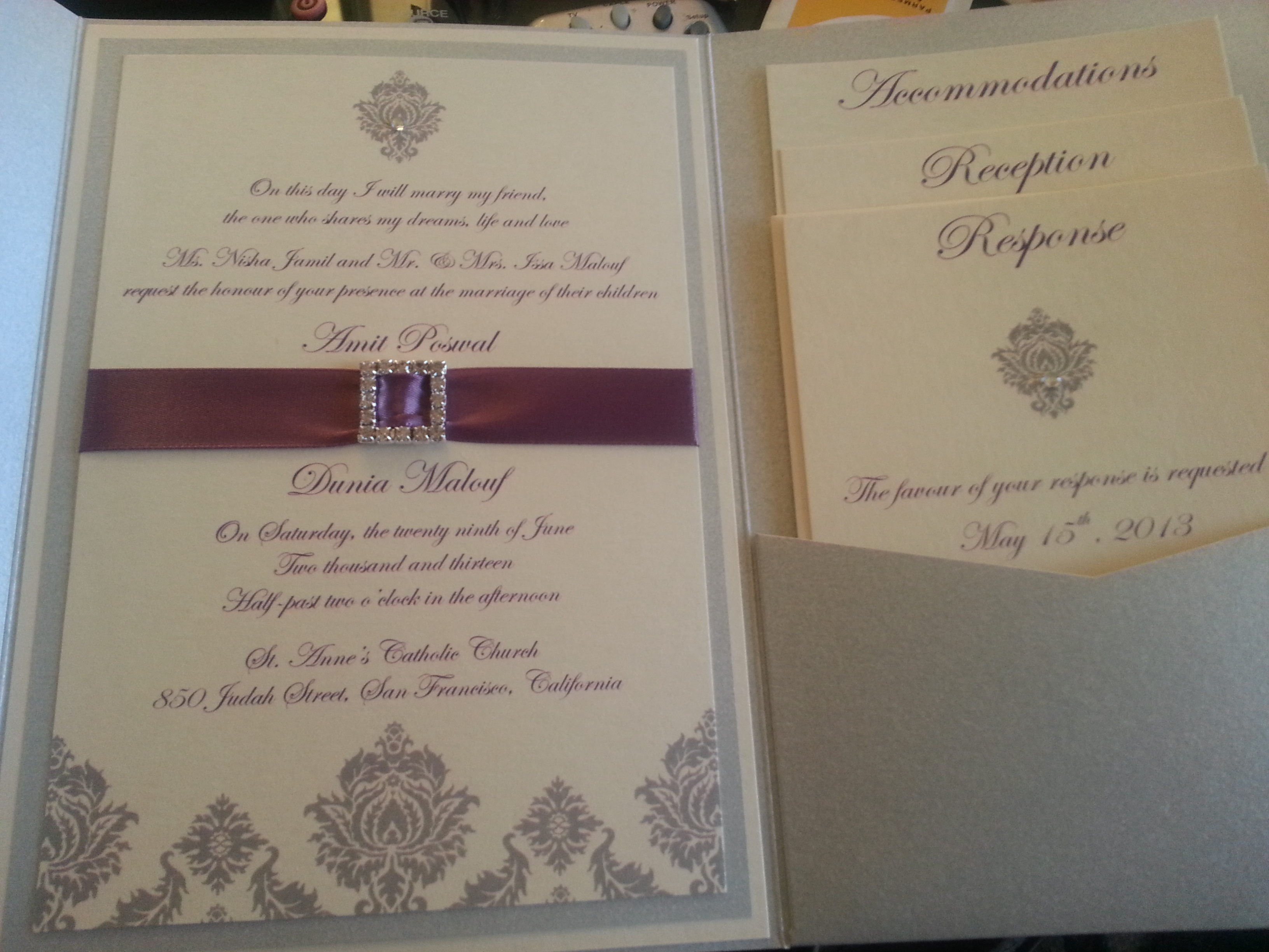 Stationery, white, purple, silver, Invitations