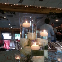 Reception, Flowers & Decor, white, ivory, green, Centerpieces, Candles, Flowers, Roses, Centerpiece, Candle, Vase, Pretty, Mirror, Vases, Floatingcandles, Teacandle, Teacandles, Ivoryroses, Smallcenterpiece