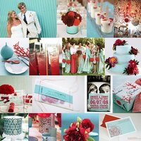 Wedding Color Palettes: Red and Aqua