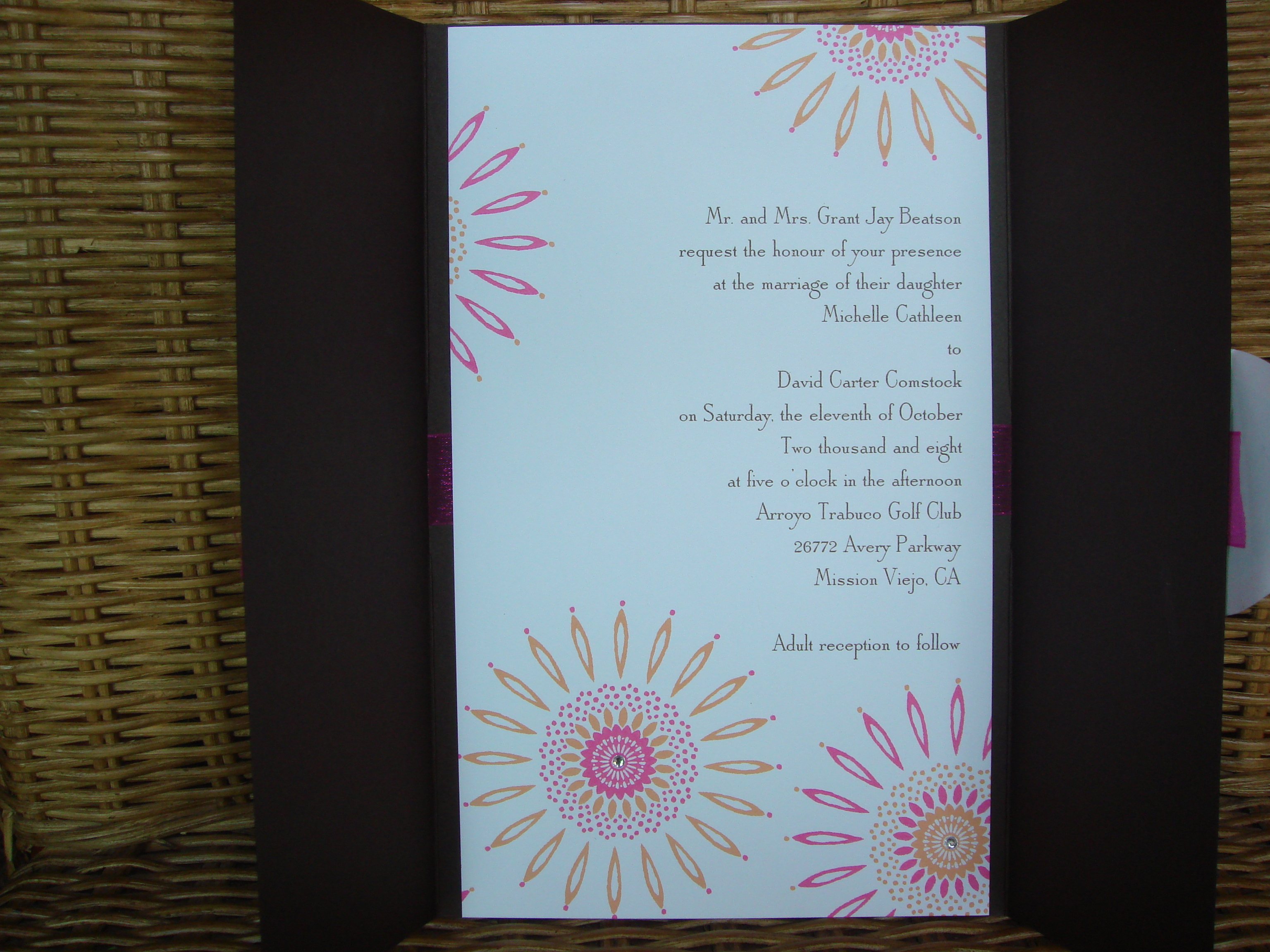Stationery, orange, pink, brown, Invitations