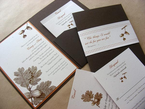 Stationery, white, orange, brown, invitation, Fall, Rustic, Rustic Wedding Invitations, Invitations, Leaf, Pocketfold, Autumn, Natural, Leaves, Oak, Folio, Envelopment, Mew paper arts, Recycled paper, Acorn, Gay wedding