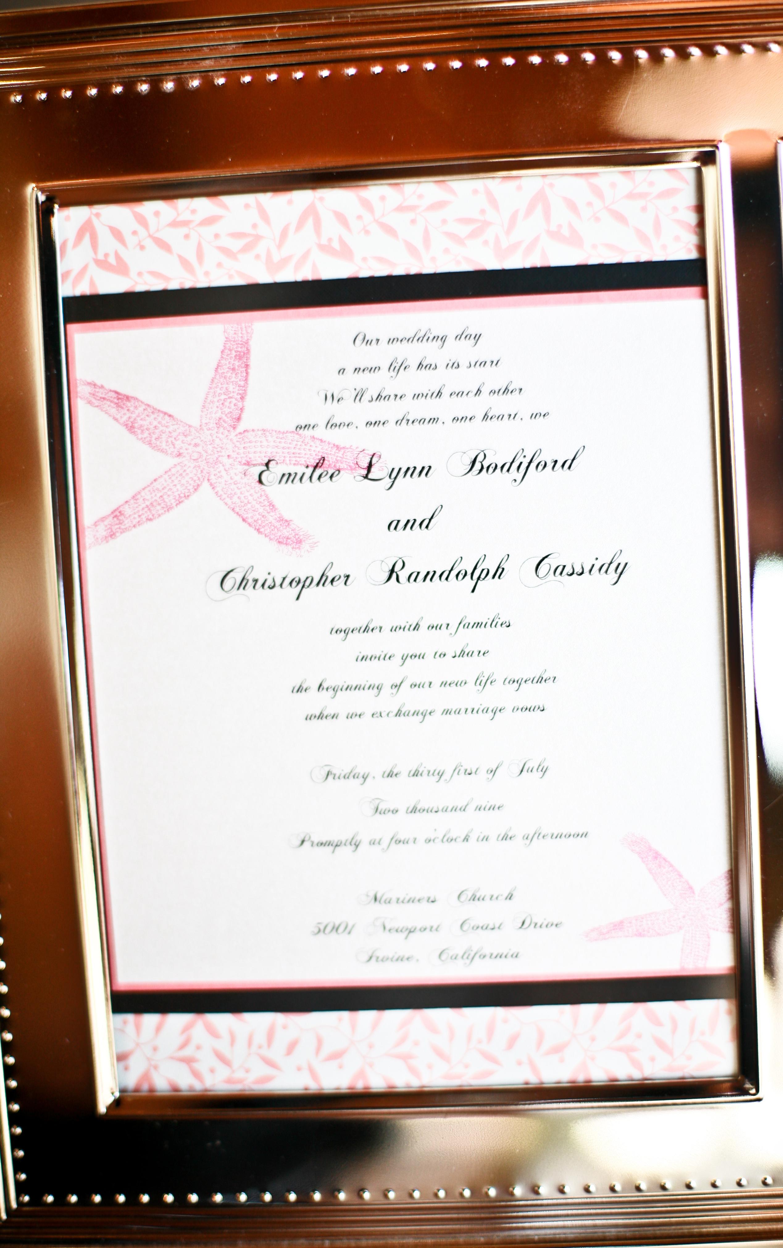 Stationery, orange, pink, Beach, Beach Wedding Invitations, Invitations