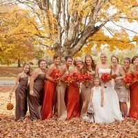 Bridesmaids, orange, brown