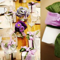 Reception, Flowers & Decor, Favors & Gifts, purple, green, favor, Centerpieces, Spring, Centerpiece, Table setting, Linda lewis photography