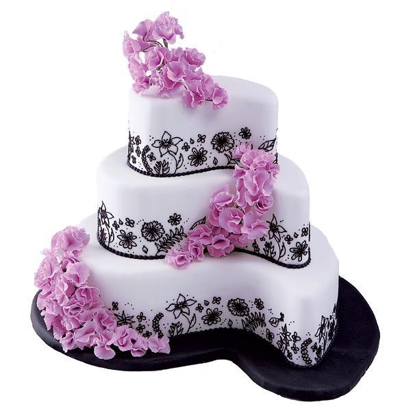 Flowers & Decor, Cakes, white, pink, black, cake, Flowers, Paisley, Absolutely cakes
