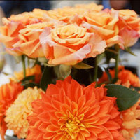 Reception, Flowers & Decor, orange, Centerpieces, Flowers, Roses, Centerpiece, Daisies