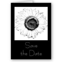 Flowers & Decor, Stationery, white, black, Summer, Announcements, Invitations, Save-the-Dates, Flower, Save the date, Black and white, Announcement, Sunflower, Announce, A wedding collection by lora severson photography, Wedding save the date, Sunflower wedding, Floral wedding