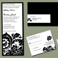 Stationery, white, black, Classic Wedding Invitations, Invitations