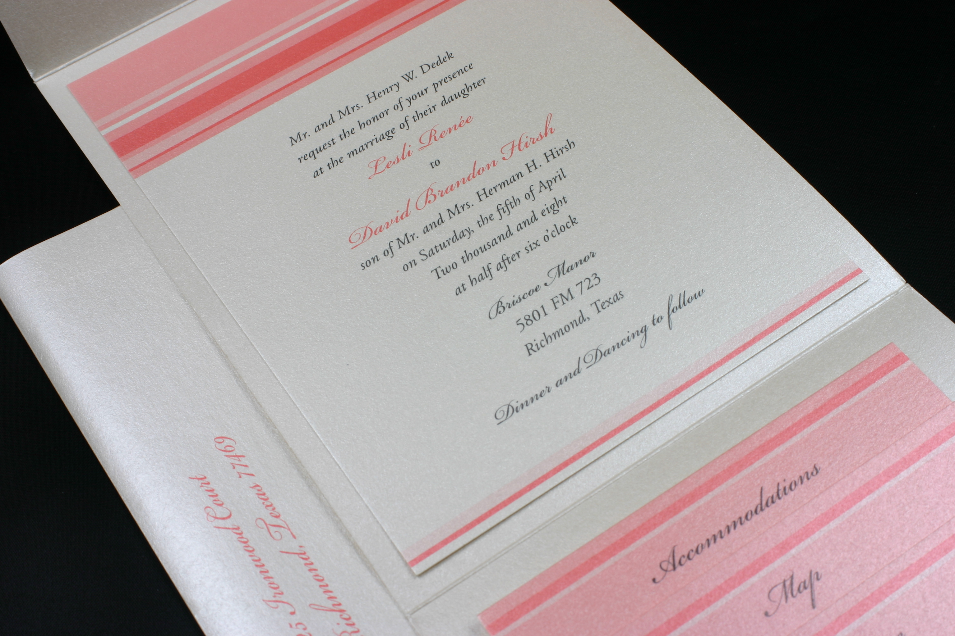 Reception, Flowers & Decor, Stationery, ivory, pink, invitation, Invitations, Pocket, Envelopments, Coral, Houston, Response, Stipes