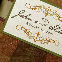 Stationery, orange, green, brown, gold, invitation, Fall, Invitations, Save-the-Dates, Save the date, Winery, Bronze, Tile
