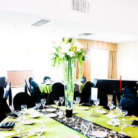 Reception, Flowers & Decor, white, green, black, Flowers, Table, Runner, Damask