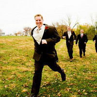 white, yellow, red, green, black, Groomsmen, Groom, Running, Field, J pollack photography