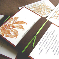 Flowers & Decor, Stationery, orange, brown, Garden, Garden Wedding Invitations, Invitations, Outdoor, Custom, Leaf, Branch, Ribbon, Autumn, Rust, Belly band, Foliage, Fall wedding, Mew paper arts, Recycled paper