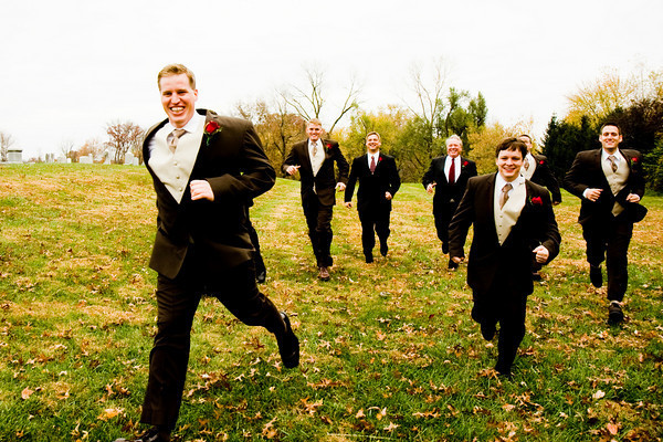 white, yellow, red, green, black, Groomsmen, Groom, Running, Field, J pollack photography