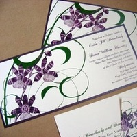 Flowers & Decor, Stationery, purple, green, Modern, Invitations, Flower, Orchid, Asian, Floral, Cymbidium, Eggplant, Bold, Tea-length, Graphic, Emerald, Mew paper arts