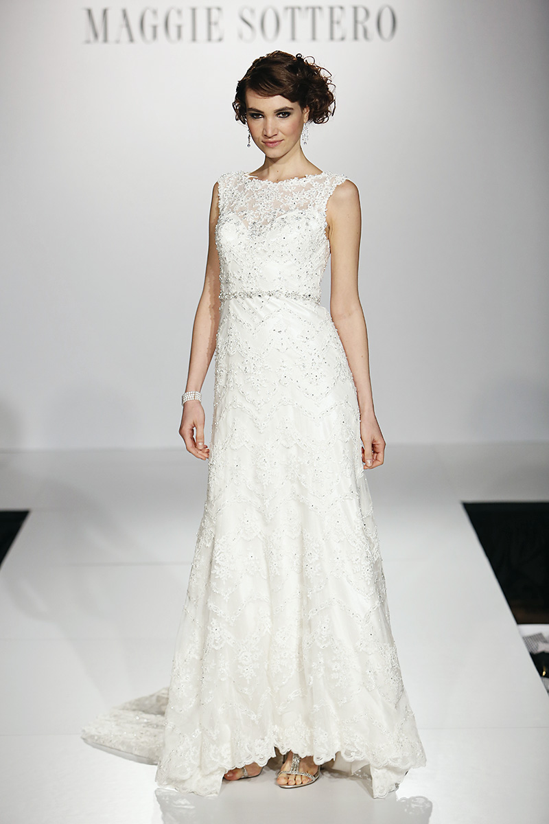 Wedding Dresses, Illusion Neckline Wedding Dresses, Lace Wedding Dresses, Fashion, wedding dresses with belts, spring 2014 bridal collections, wedding dresses with trains