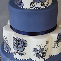 Hand Painted Blue Floral