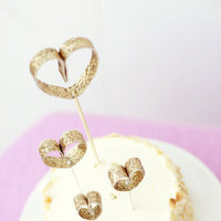 DIY: Glittering Heart Dessert Toppers