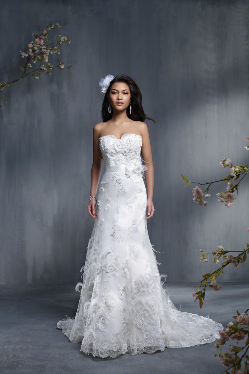 Wedding Dresses, Fashion, Feathers, Flowers, Strapless, Strapless Wedding Dresses, Sheath, Satin, Alfred angelo, semi-cathedral train, satin wedding dresses, Flower Wedding Dresses, Feather Wedding Dresses, Sheath Wedding Dresses