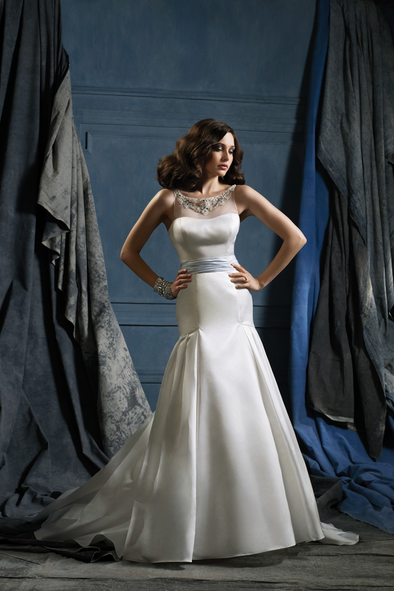 Wedding Dresses, Ball Gown Wedding Dresses, Fashion, Classic, Satin, Jewel, Alfred angelo, Ball gown, illusion neckline, Classic Wedding Dresses, satin wedding dresses, Jewel Wedding Dresses