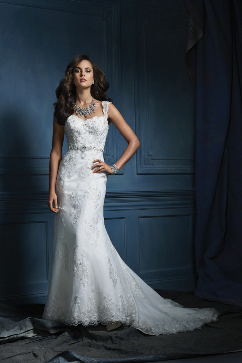 Wedding Dresses, Lace Wedding Dresses, Fashion, Lace, Sheath, Embroidery, Tank, Alfred angelo, chapel train, Sheath Wedding Dresses