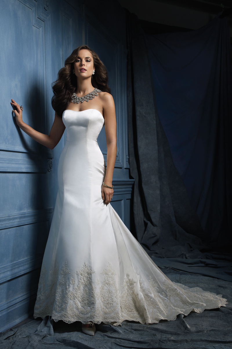 Wedding Dresses, Lace Wedding Dresses, Fashion, Classic, Lace, Strapless, Strapless Wedding Dresses, Satin, Alfred angelo, Classic Wedding Dresses, satin wedding dresses