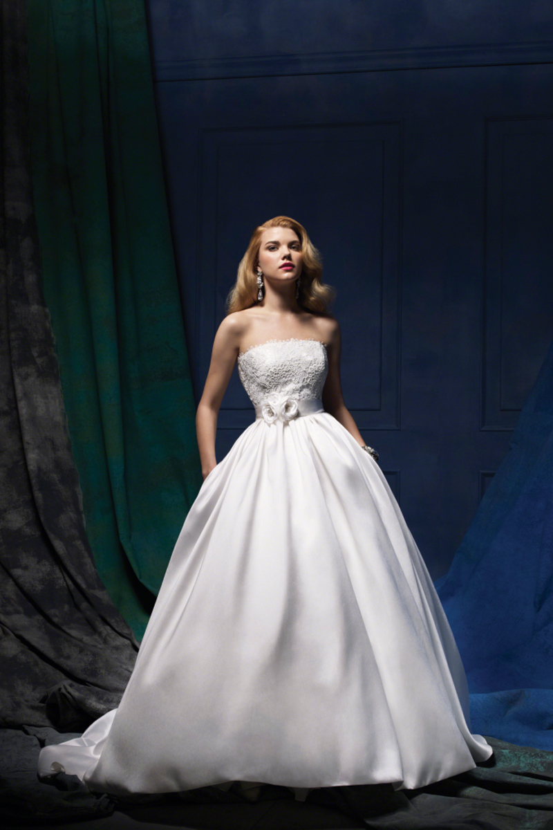 Wedding Dresses, Ball Gown Wedding Dresses, Fashion, Classic, Satin, Alfred angelo, Ball gown, chapel train, flower belt, Classic Wedding Dresses, satin wedding dresses