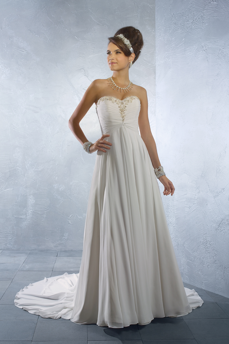 Wedding Dresses, Fashion, Strapless, Strapless Wedding Dresses, Beading, Chiffon, Alfred angelo, empire waist, Beaded Wedding Dresses, Chiffon Wedding Dresses