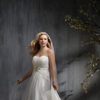 Wedding Dresses, Fashion, Strapless, Strapless Wedding Dresses, Alfred angelo, Aline, net overlay, empire waist, jewel accent