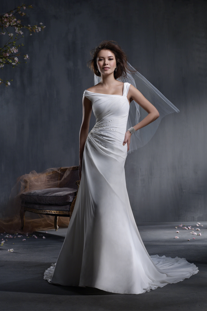Wedding Dresses, Fashion, Classic, Off the shoulder, Sheath, Chiffon, Rhinestone, Alfred angelo, Off the Shoulder Wedding Dresses, Classic Wedding Dresses, Sheath Wedding Dresses, Chiffon Wedding Dresses
