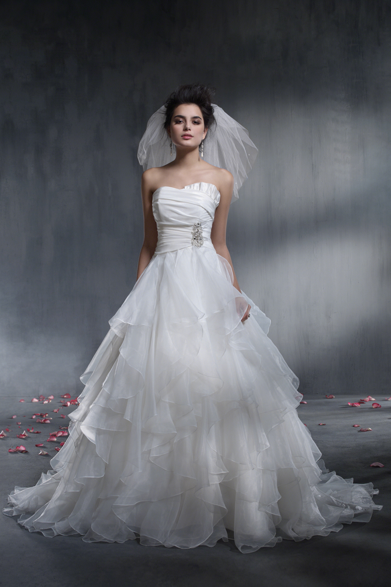 Wedding Dresses, Ball Gown Wedding Dresses, Fashion, Strapless, Strapless Wedding Dresses, Rhinestone, Alfred angelo, Taffeta, Ruffle, Ball gown, taffeta wedding dresses