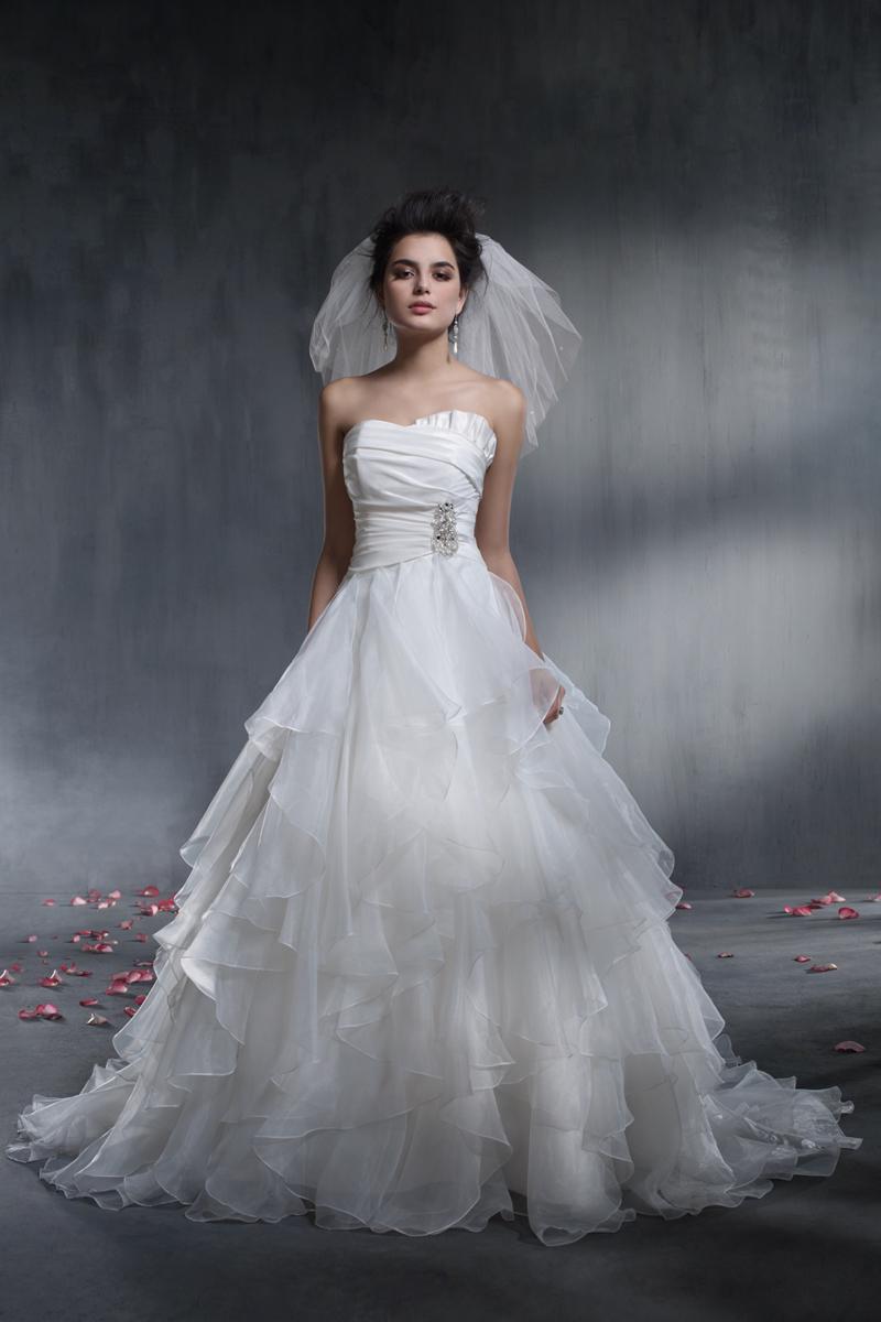 Wedding Dresses, Ball Gown Wedding Dresses, Fashion, Strapless, Strapless Wedding Dresses, Rhinestone, Alfred angelo, Taffeta, Ruffle, Ball gown, taffeta wedding dresses
