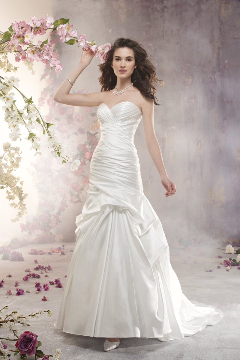 Wedding Dresses, Fashion, Strapless, Strapless Wedding Dresses, Satin, Alfred angelo, Pick-ups, Ruching, satin wedding dresses