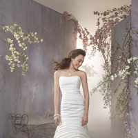 Wedding Dresses, Fashion, Flowers, Strapless, Strapless Wedding Dresses, Fit and flare, Alfred angelo, Taffeta, Ruching, taffeta wedding dresses, Flower Wedding Dresses
