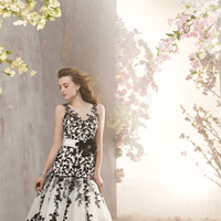 Wedding Dresses, Fashion, black, Satin, Embroidery, Alfred angelo, net overlay, 3D flower, satin wedding dresses