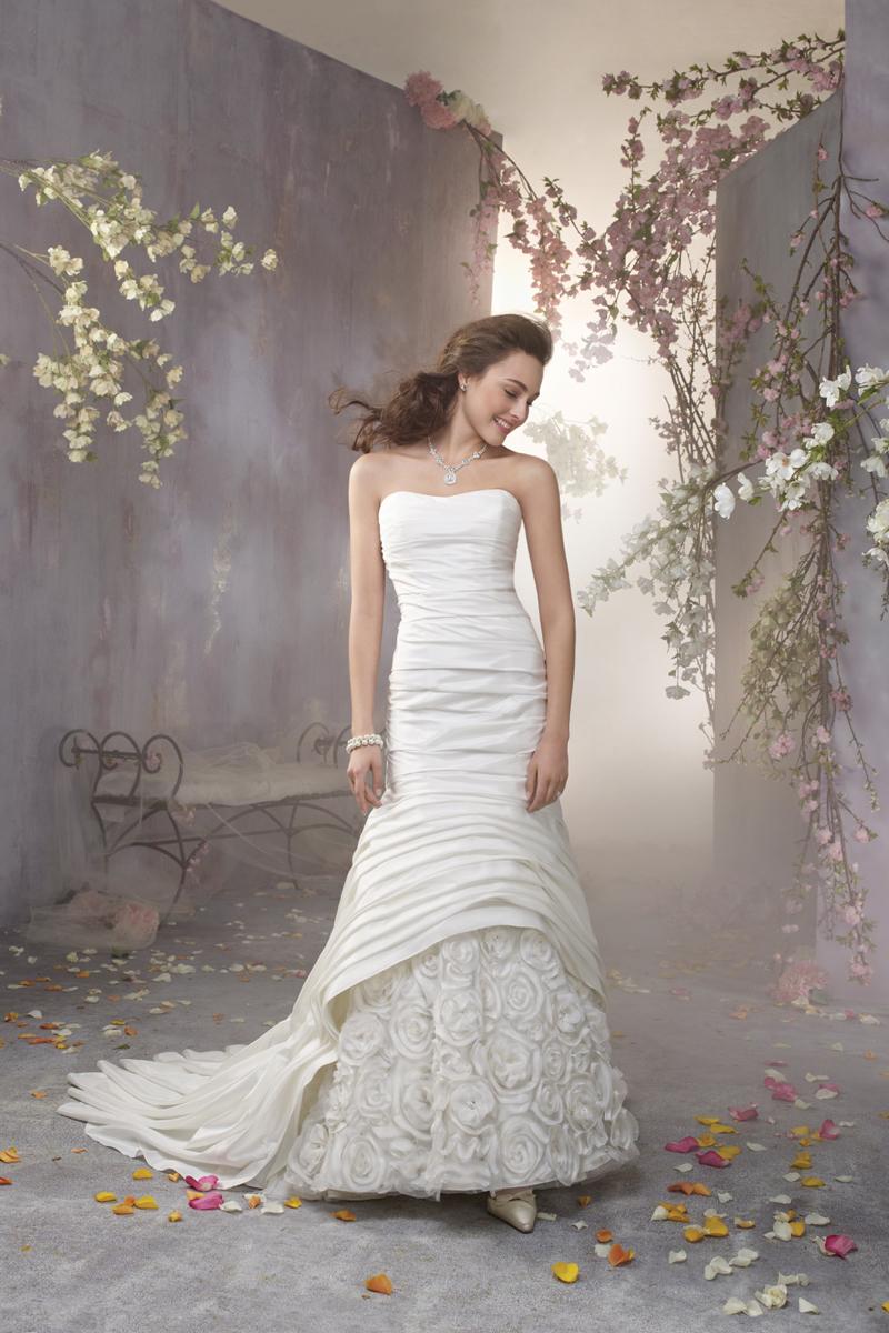 Wedding Dresses, Fashion, Flowers, Strapless, Strapless Wedding Dresses, Fit and flare, Alfred angelo, Taffeta, Ruching, taffeta wedding dresses, Flower Wedding Dresses