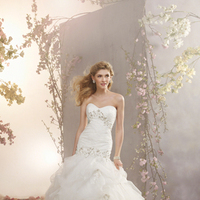 Wedding Dresses, Ruffled Wedding Dresses, Fashion, Strapless, Strapless Wedding Dresses, Beading, Fit and flare, Ruffles, Alfred angelo, Pick-ups, Beaded Wedding Dresses