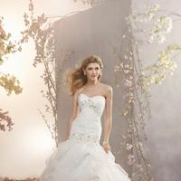 Wedding Dresses, Ruffled Wedding Dresses, Fashion, Strapless, Strapless Wedding Dresses, Beading, Fit and flare, Ruffles, Alfred angelo, Pick-ups, Beaded Wedding Dresses