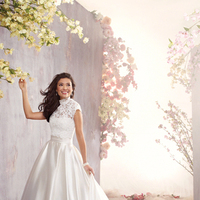 Wedding Dresses, Fashion, Strapless, Strapless Wedding Dresses, Satin, Alfred angelo, Full skirt, lace jacket, satin wedding dresses