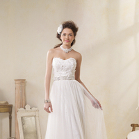 Wedding Dresses, Lace Wedding Dresses, Fashion, Lace, Strapless, Strapless Wedding Dresses, Alfred angelo, Beaded belt, organza flowers