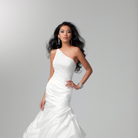 Wedding Dresses, One-Shoulder Wedding Dresses, Fashion, Classic, Alfred angelo, Taffeta, Pick-ups, Ruching, One-shoulder, taffeta wedding dresses, Classic Wedding Dresses