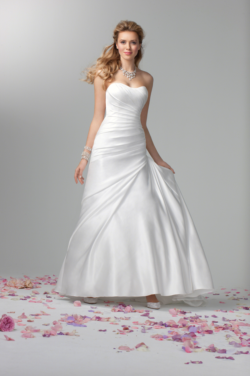 Fashion, Satin, Classic, Strapless, Alfred angelo, Ruching, Wedding Dresses, Strapless Wedding Dresses, satin wedding dresses, Classic Wedding Dresses
