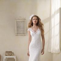 Wedding Dresses, Lace Wedding Dresses, Vintage Wedding Dresses, Fashion, Vintage, Lace, Cap sleeves, V-neck, V-neck Wedding Dresses, Sheath, Alfred angelo, Sheath Wedding Dresses