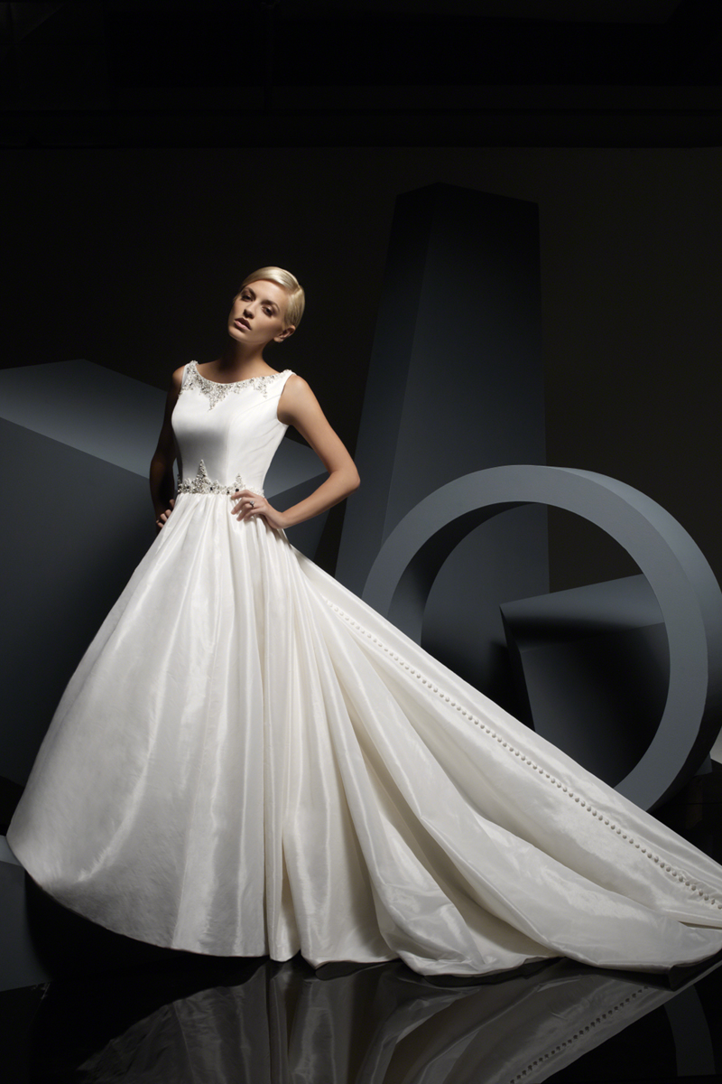 Wedding Dresses, Fashion, Scoop neck, Alfred angelo, chapel train, crystal beading, luxe taffeta