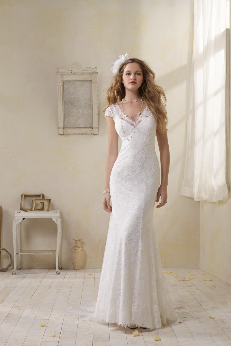 Wedding Dresses, Lace Wedding Dresses, Vintage Wedding Dresses, Fashion, Vintage, Lace, Cap sleeves, V-neck, V-neck Wedding Dresses, Sheath, Alfred angelo, Sheath Wedding Dresses