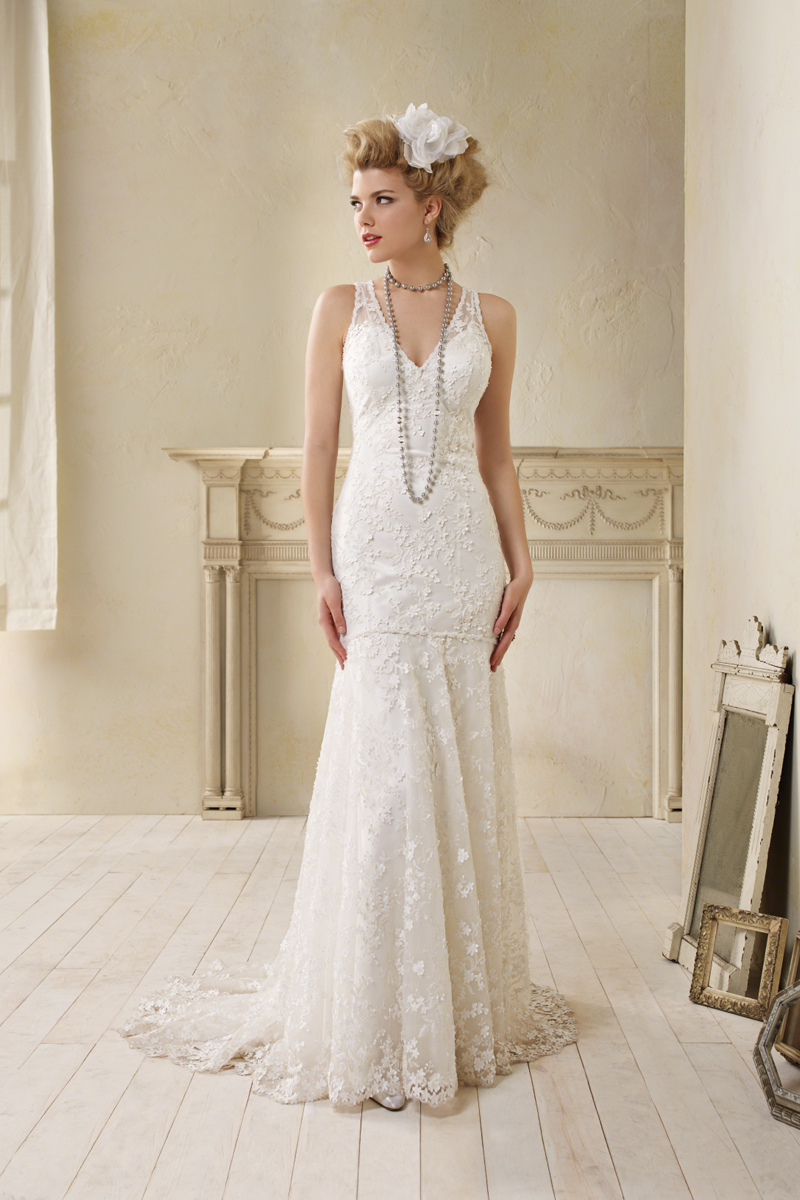Wedding Dresses, Fashion, V-neck, V-neck Wedding Dresses, Charmeuse, Alfred angelo, Lace overlay, dropped waist